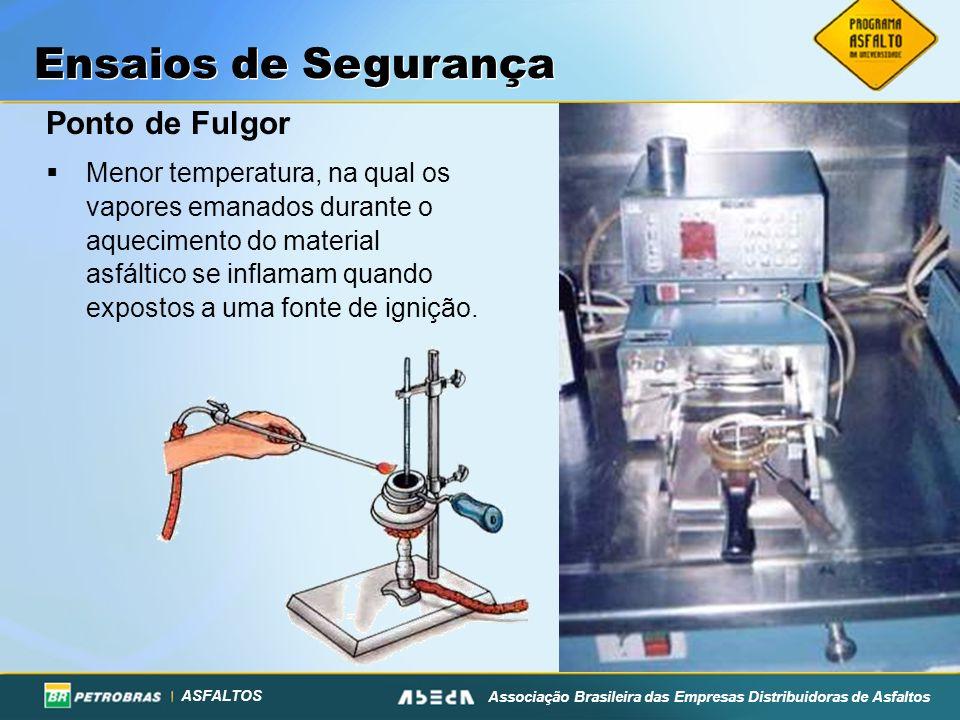 ASFALTOS Associação Brasileira das Empresas Distribuidoras de Asfaltos Ensaios de Segurança Ponto de Fulgor Menor temperatura, na qual os vapores eman