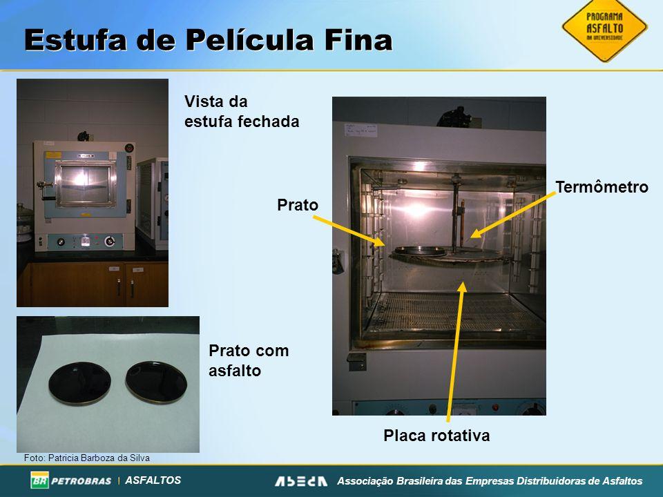 ASFALTOS Associação Brasileira das Empresas Distribuidoras de Asfaltos Estufa de Película Fina Vista da estufa fechada Placa rotativa Prato Termômetro