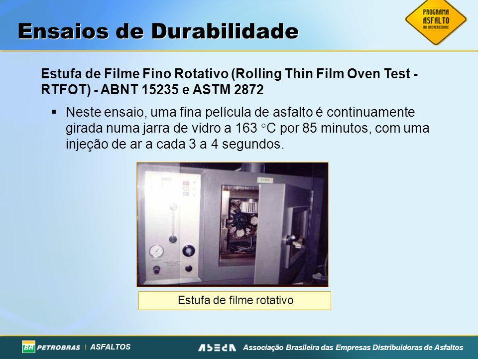 ASFALTOS Associação Brasileira das Empresas Distribuidoras de Asfaltos Ensaios de Durabilidade Estufa de Filme Fino Rotativo (Rolling Thin Film Oven T