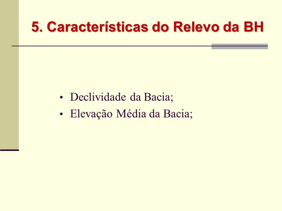 5. Características do Relevo da BH Declividade da Bacia; Elevação Média da Bacia;