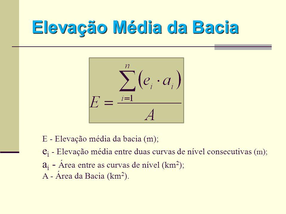 Elevação Média da Bacia E - Elevação média da bacia (m); e i - Elevação média entre duas curvas de nível consecutivas (m); a i - Área entre as curvas
