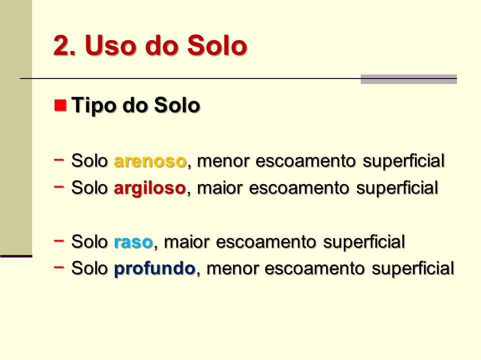 Tipo do Solo Tipo do Solo Solo arenoso, menor escoamento superficial Solo arenoso, menor escoamento superficial Solo argiloso, maior escoamento superf