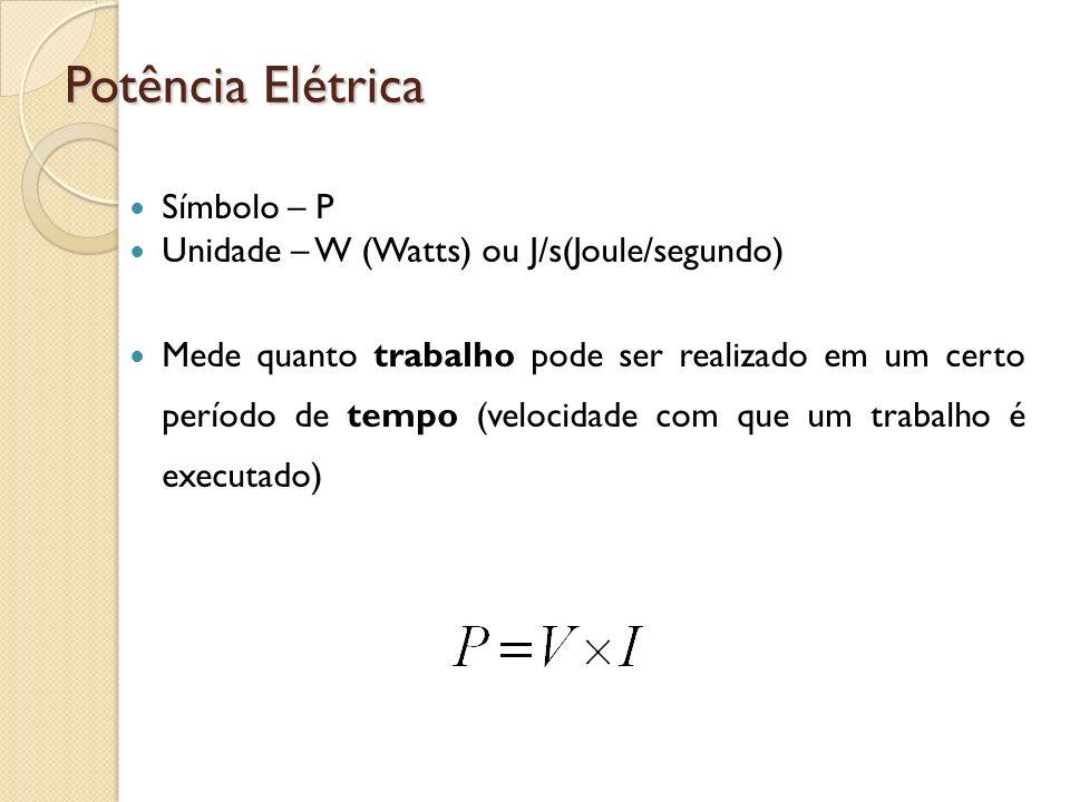 Potência Elétrica Símbolo – P Unidade – W (Watts) ou J/s(Joule/segundo) Mede quanto trabalho pode ser realizado em um certo período de tempo (velocida