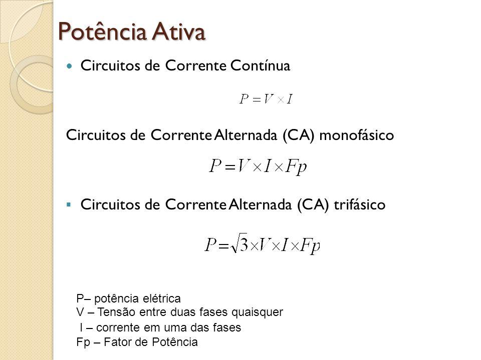 Potência Ativa Circuitos de Corrente Contínua Circuitos de Corrente Alternada (CA) monofásico Circuitos de Corrente Alternada (CA) trifásico P– potênc