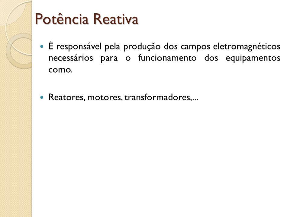 Potência Reativa É responsável pela produção dos campos eletromagnéticos necessários para o funcionamento dos equipamentos como. Reatores, motores, tr