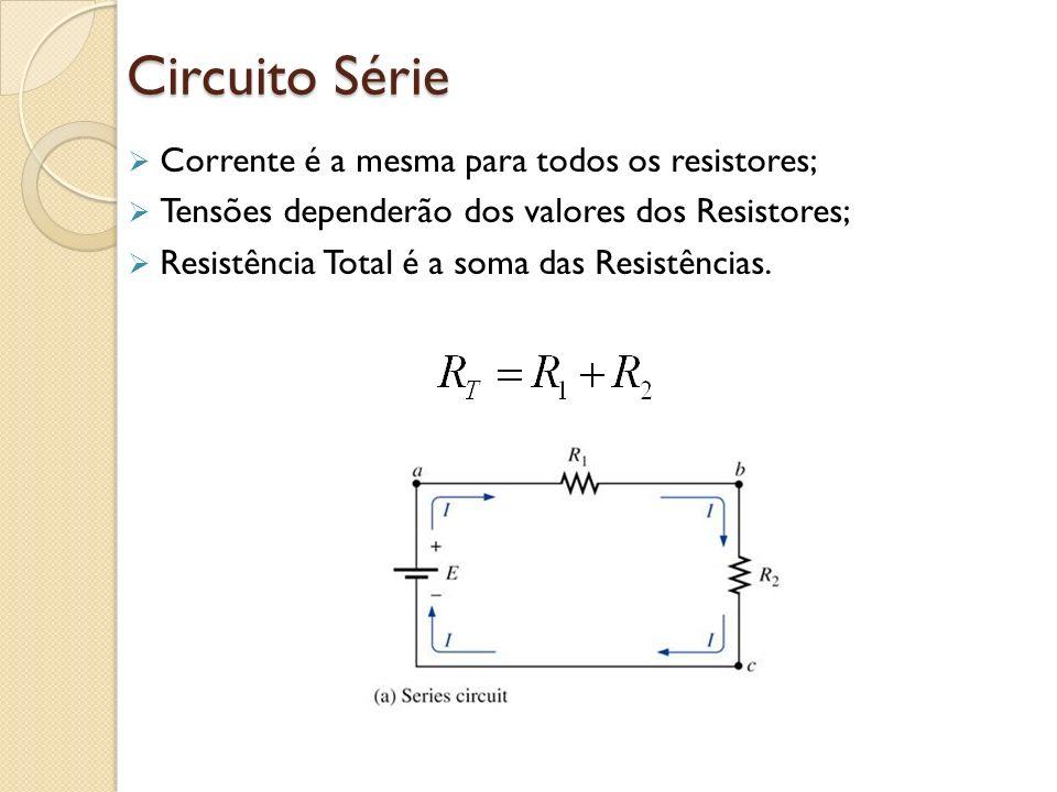 Circuito Série Corrente é a mesma para todos os resistores; Tensões dependerão dos valores dos Resistores; Resistência Total é a soma das Resistências