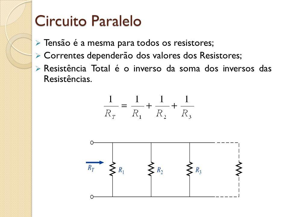 Circuito Paralelo Tensão é a mesma para todos os resistores; Correntes dependerão dos valores dos Resistores; Resistência Total é o inverso da soma do