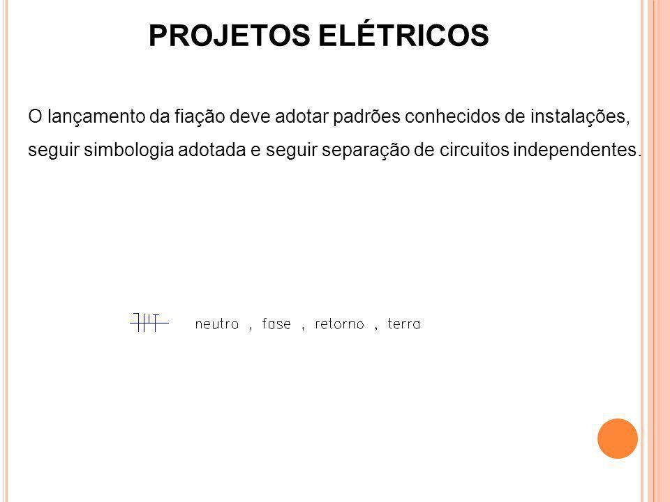 PROJETOS ELÉTRICOS O lançamento da fiação deve adotar padrões conhecidos de instalações, seguir simbologia adotada e seguir separação de circuitos ind