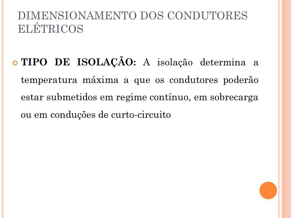 DIMENSIONAMENTO DOS CONDUTORES ELÉTRICOS TIPO DE ISOLAÇÃO: A isolação determina a temperatura máxima a que os condutores poderão estar submetidos em r