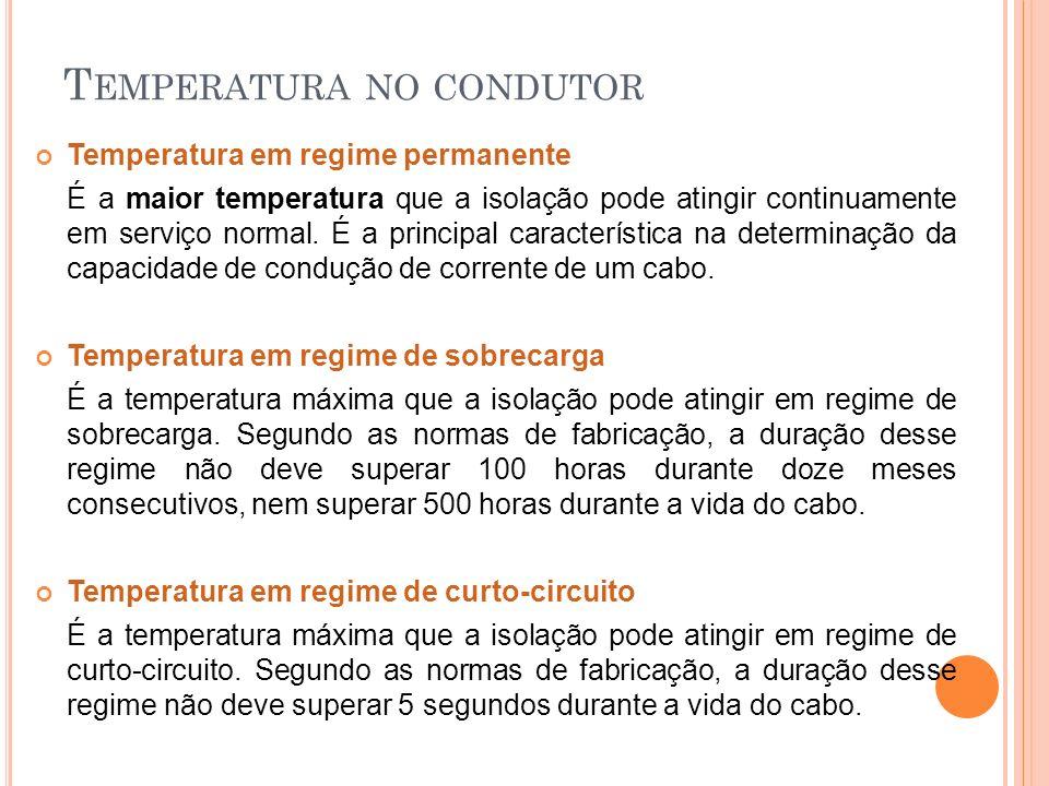 T EMPERATURA NO CONDUTOR Temperatura em regime permanente É a maior temperatura que a isolação pode atingir continuamente em serviço normal. É a princ