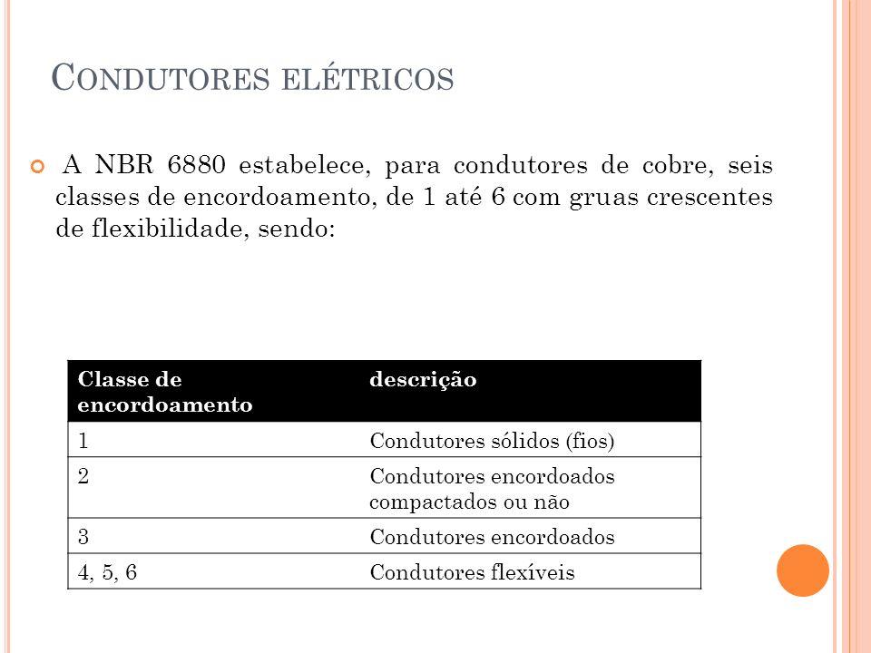 C ONDUTORES ELÉTRICOS Classe de encordoamento descrição 1Condutores sólidos (fios) 2Condutores encordoados compactados ou não 3Condutores encordoados