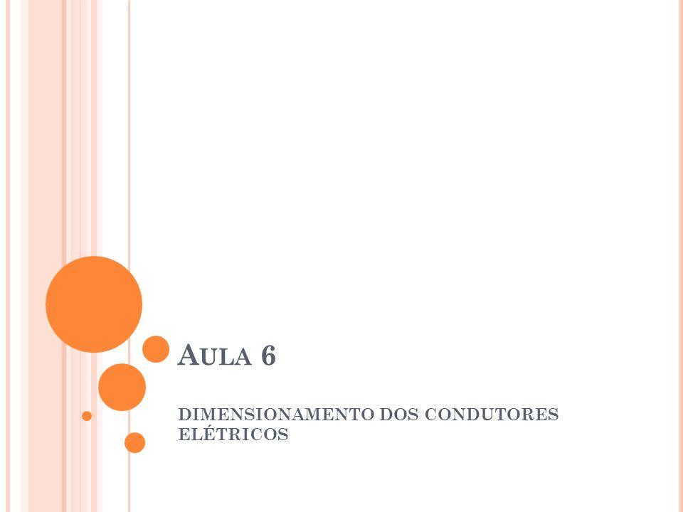 DIMENSIONAMENTO DOS CONDUTORES ELÉTRICOS ISOLAÇÃO: A isolação determina a temperatura máxima a que os condutores poderão estar submetidos em regime contínuo, em sobrecarga ou em conduções de curto-circuito TIPOS: PVC, EPR e XLPE