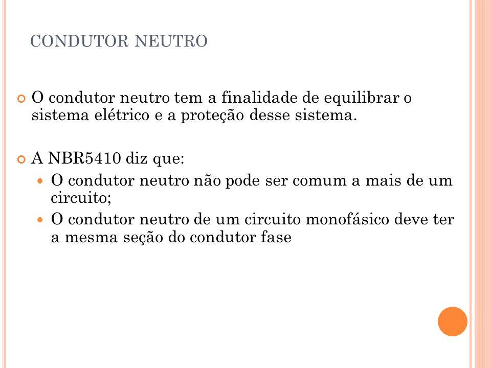 CONDUTOR NEUTRO O condutor neutro tem a finalidade de equilibrar o sistema elétrico e a proteção desse sistema. A NBR5410 diz que: O condutor neutro n