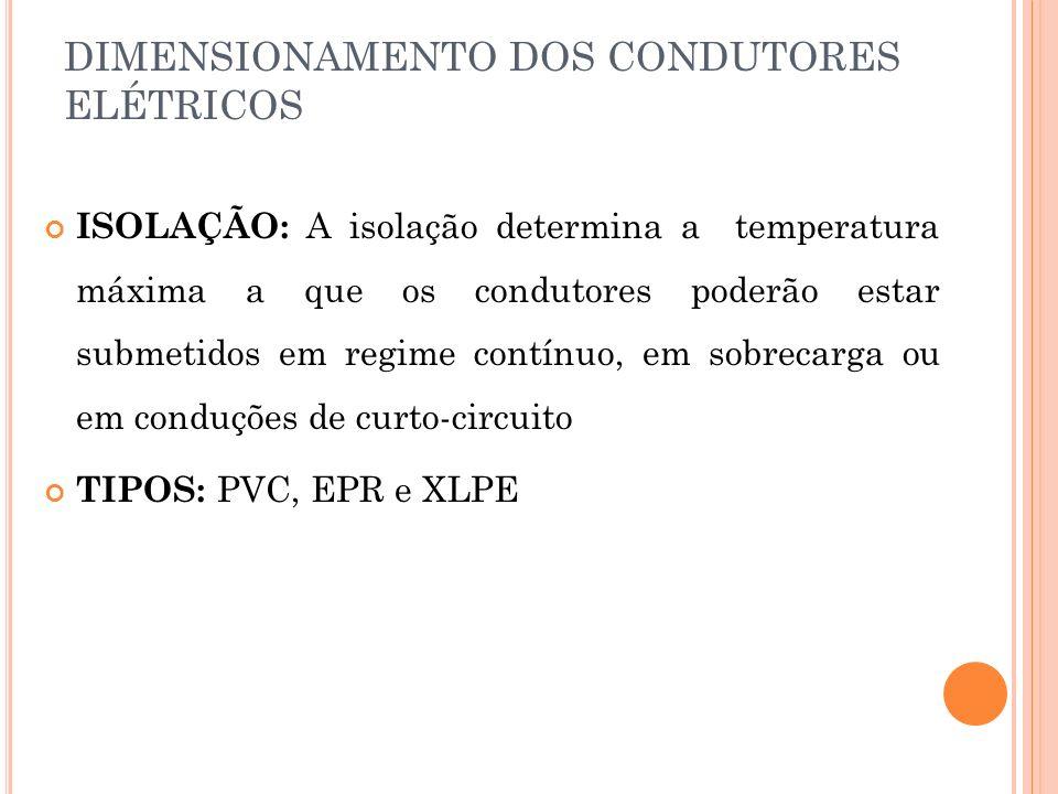 DIMENSIONAMENTO DOS CONDUTORES ELÉTRICOS ISOLAÇÃO: A isolação determina a temperatura máxima a que os condutores poderão estar submetidos em regime co