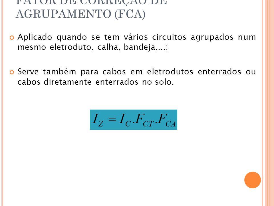 FATOR DE CORREÇÃO DE AGRUPAMENTO (FCA) Aplicado quando se tem vários circuitos agrupados num mesmo eletroduto, calha, bandeja,...; Serve também para c
