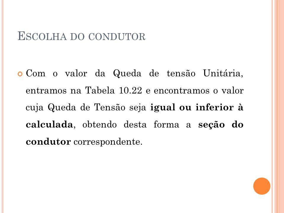 E SCOLHA DO CONDUTOR Com o valor da Queda de tensão Unitária, entramos na Tabela 10.22 e encontramos o valor cuja Queda de Tensão seja igual ou inferi