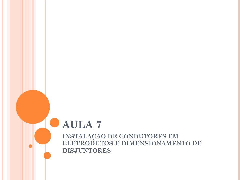 AULA 7 INSTALAÇÃO DE CONDUTORES EM ELETRODUTOS E DIMENSIONAMENTO DE DISJUNTORES