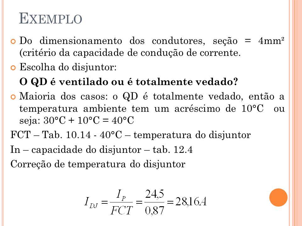 Do dimensionamento dos condutores, seção = 4mm² (critério da capacidade de condução de corrente. Escolha do disjuntor: O QD é ventilado ou é totalment