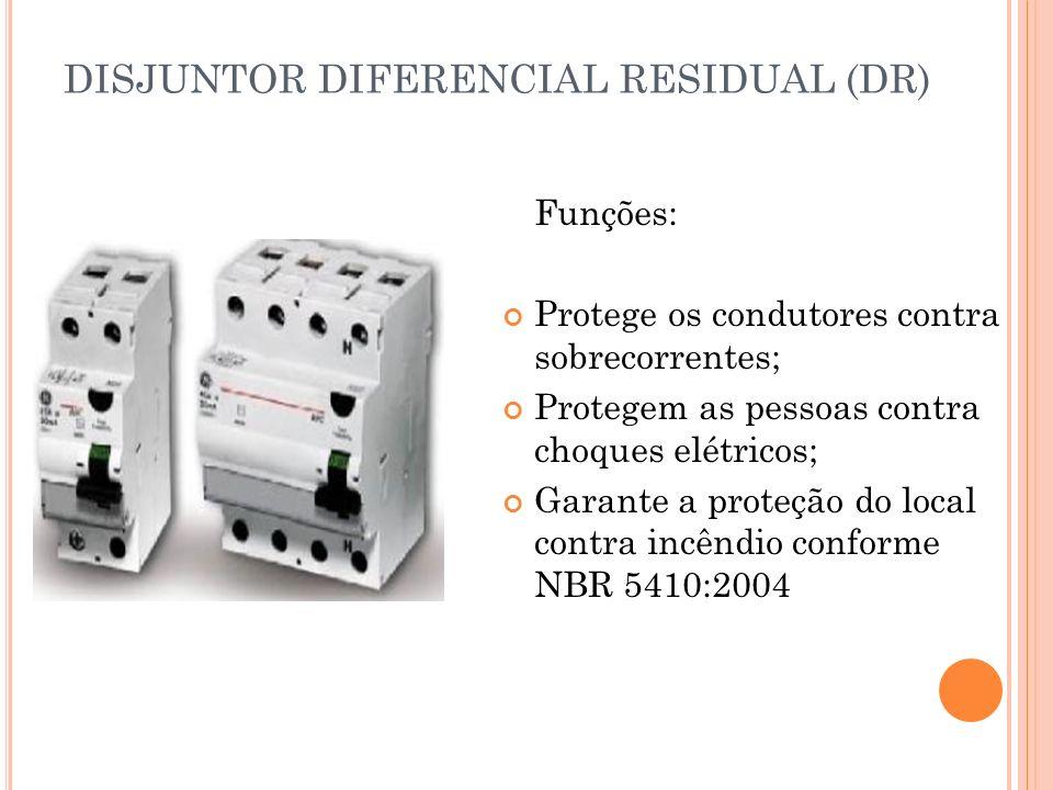 DISJUNTOR DIFERENCIAL RESIDUAL (DR) Funções: Protege os condutores contra sobrecorrentes; Protegem as pessoas contra choques elétricos; Garante a prot