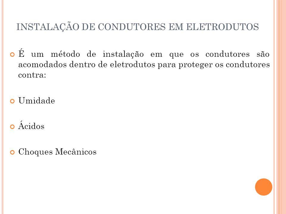 INSTALAÇÃO DE CONDUTORES EM ELETRODUTOS É um método de instalação em que os condutores são acomodados dentro de eletrodutos para proteger os condutore