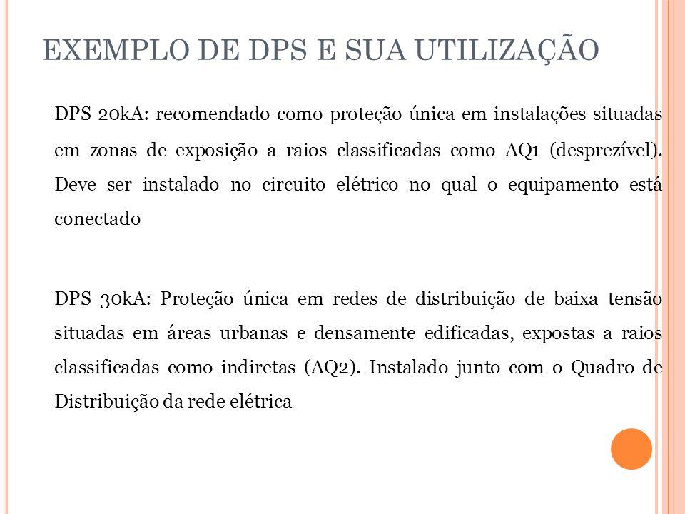 EXEMPLO DE DPS E SUA UTILIZAÇÃO DPS 20kA: recomendado como proteção única em instalações situadas em zonas de exposição a raios classificadas como AQ1