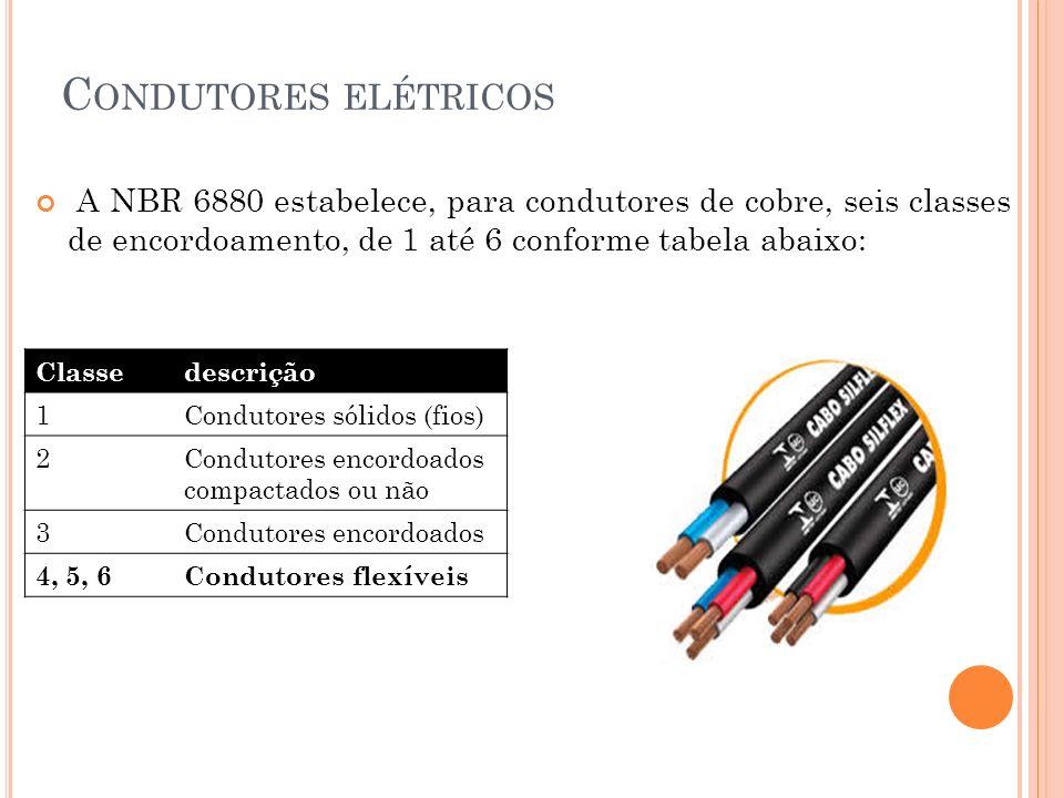 C ONDUTORES ELÉTRICOS Classedescrição 1Condutores sólidos (fios) 2Condutores encordoados compactados ou não 3Condutores encordoados 4, 5, 6Condutores
