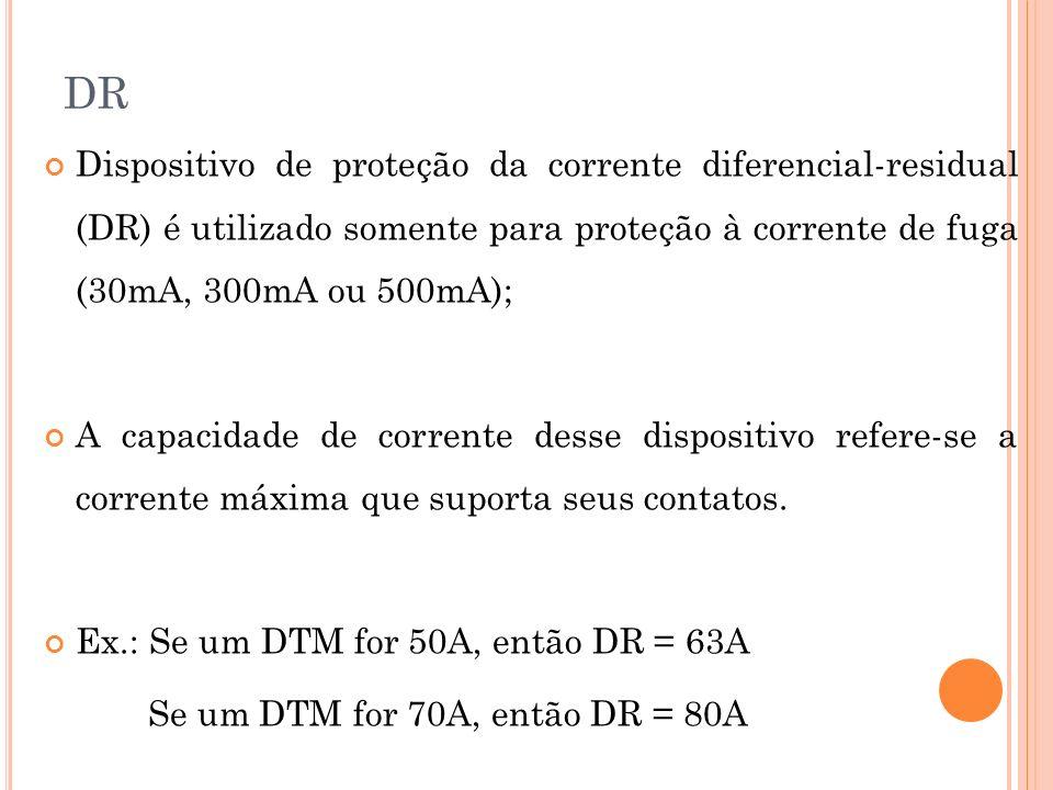 DR Dispositivo de proteção da corrente diferencial-residual (DR) é utilizado somente para proteção à corrente de fuga (30mA, 300mA ou 500mA); A capaci