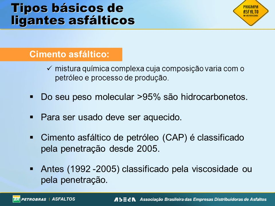 ASFALTOS Associação Brasileira das Empresas Distribuidoras de Asfaltos Tipos básicos de ligantes asfálticos Cimento asfáltico: mistura química complex