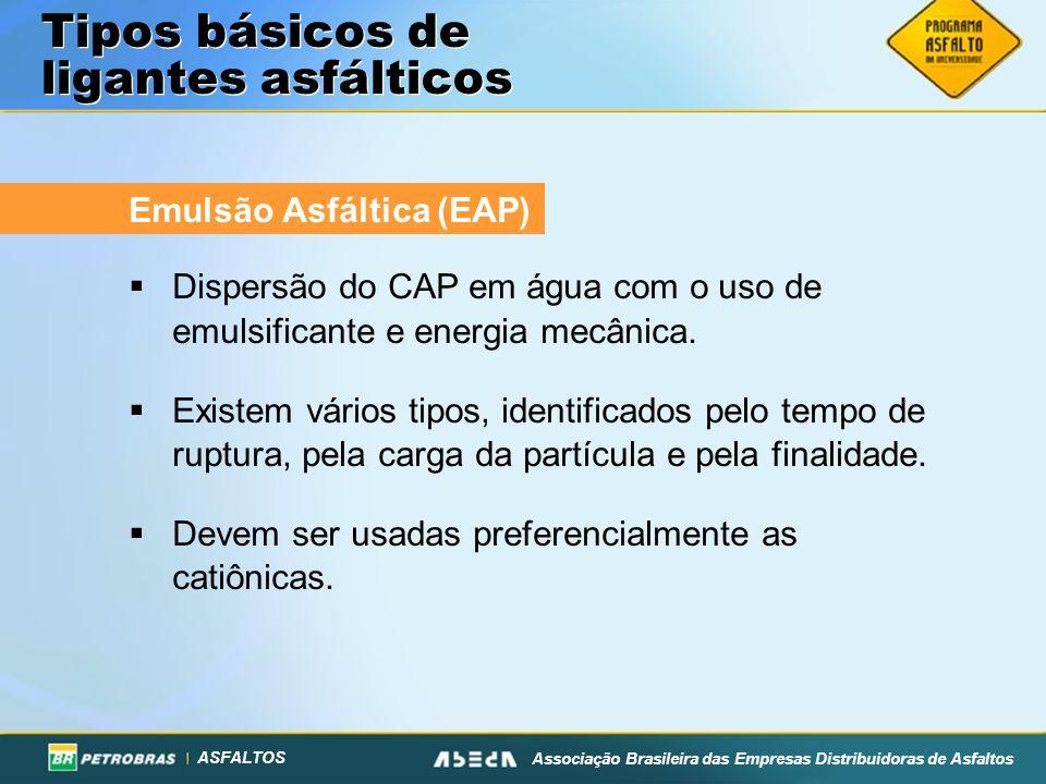 ASFALTOS Associação Brasileira das Empresas Distribuidoras de Asfaltos Tipos básicos de ligantes asfálticos Emulsão Asfáltica (EAP) Dispersão do CAP e