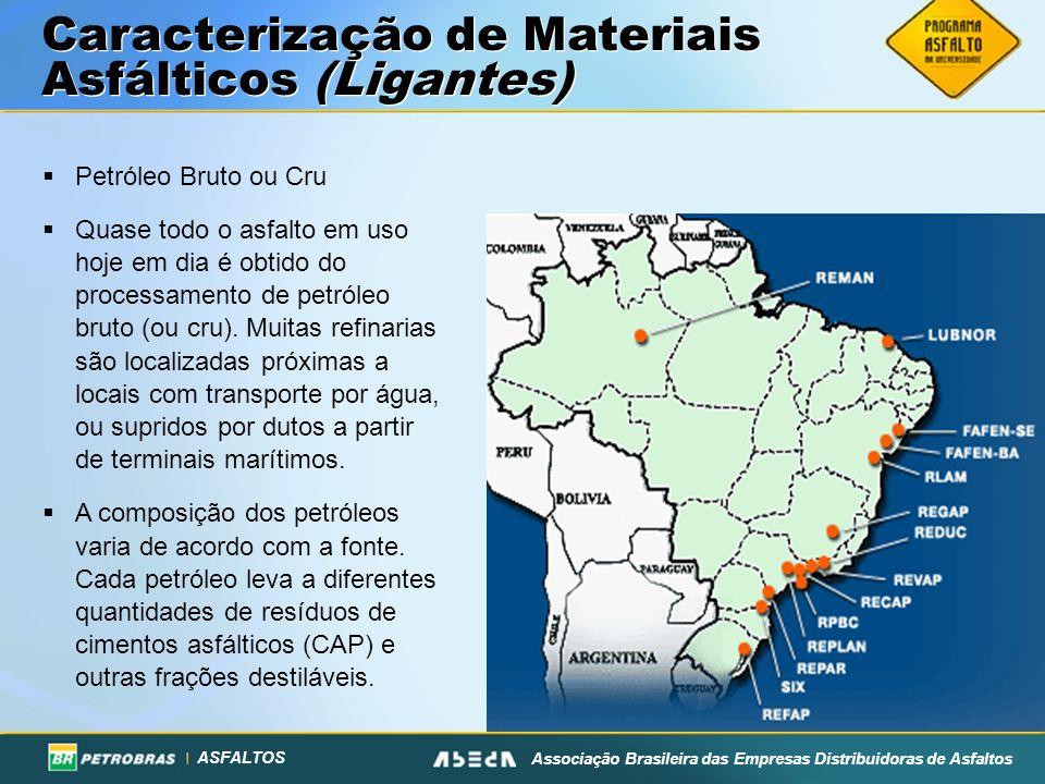 ASFALTOS Associação Brasileira das Empresas Distribuidoras de Asfaltos Caracterização de Materiais Asfálticos (Ligantes) Petróleo Bruto ou Cru Quase t