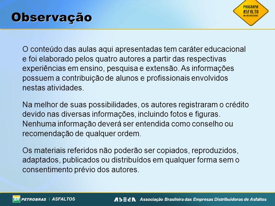 ASFALTOS Associação Brasileira das Empresas Distribuidoras de Asfaltos Observação O conteúdo das aulas aqui apresentadas tem caráter educacional e foi