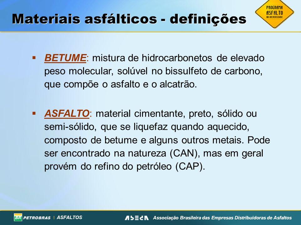 ASFALTOS Associação Brasileira das Empresas Distribuidoras de Asfaltos Materiais asfálticos - definições BETUME: mistura de hidrocarbonetos de elevado