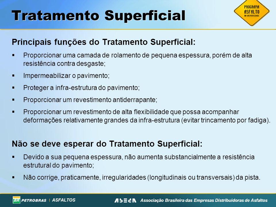 ASFALTOS Associação Brasileira das Empresas Distribuidoras de Asfaltos Tratamento Superficial Principais funções do Tratamento Superficial: Proporcion