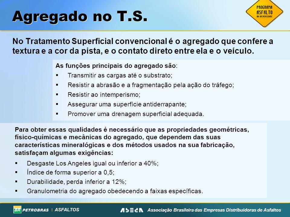ASFALTOS Associação Brasileira das Empresas Distribuidoras de Asfaltos Agregado no T.S. No Tratamento Superficial convencional é o agregado que confer