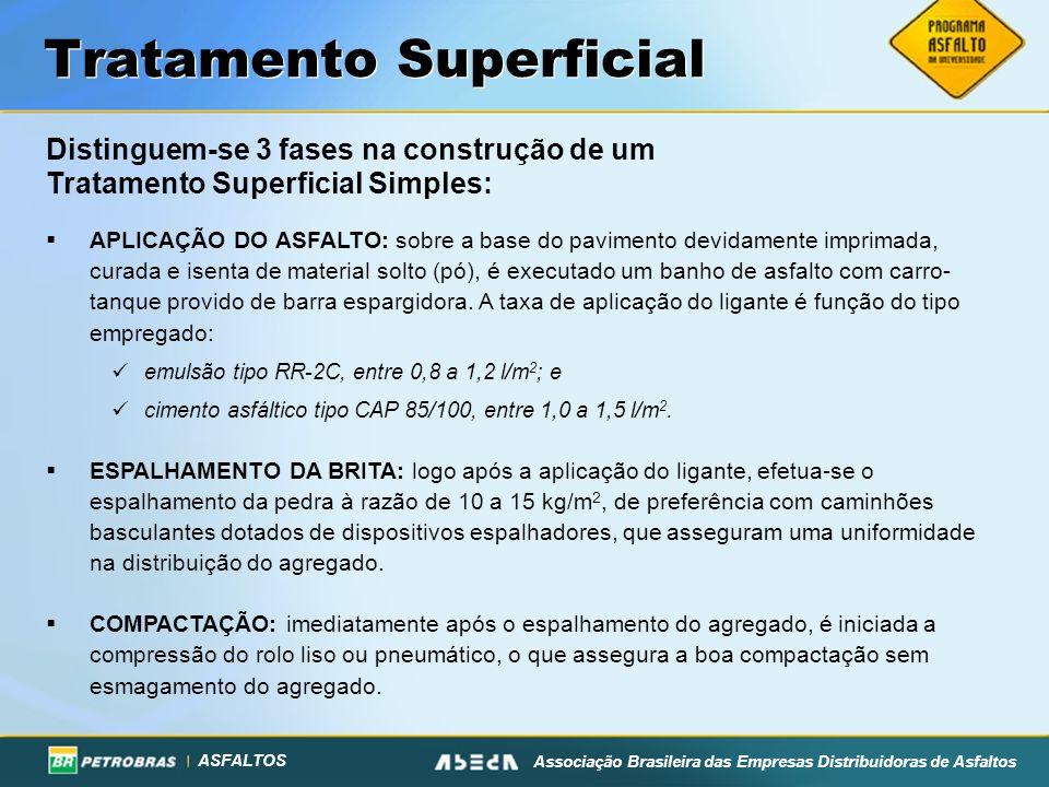 ASFALTOS Associação Brasileira das Empresas Distribuidoras de Asfaltos Tratamento Superficial Distinguem-se 3 fases na construção de um Tratamento Sup