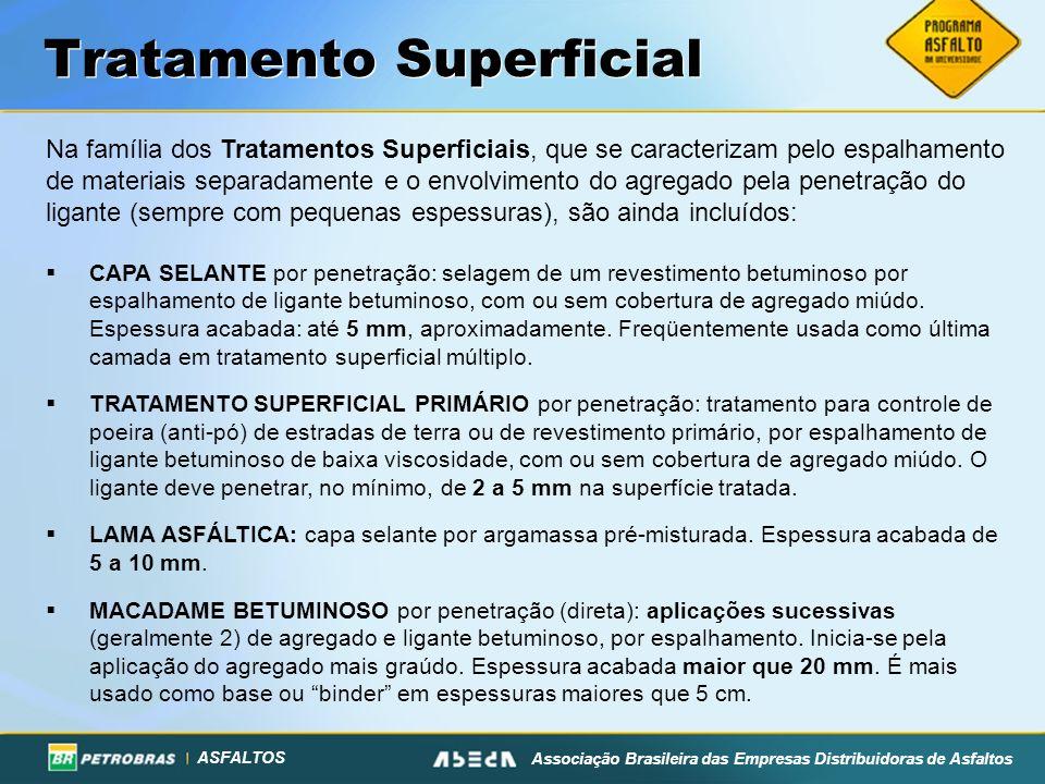 ASFALTOS Associação Brasileira das Empresas Distribuidoras de Asfaltos Tratamento Superficial Na família dos Tratamentos Superficiais, que se caracter