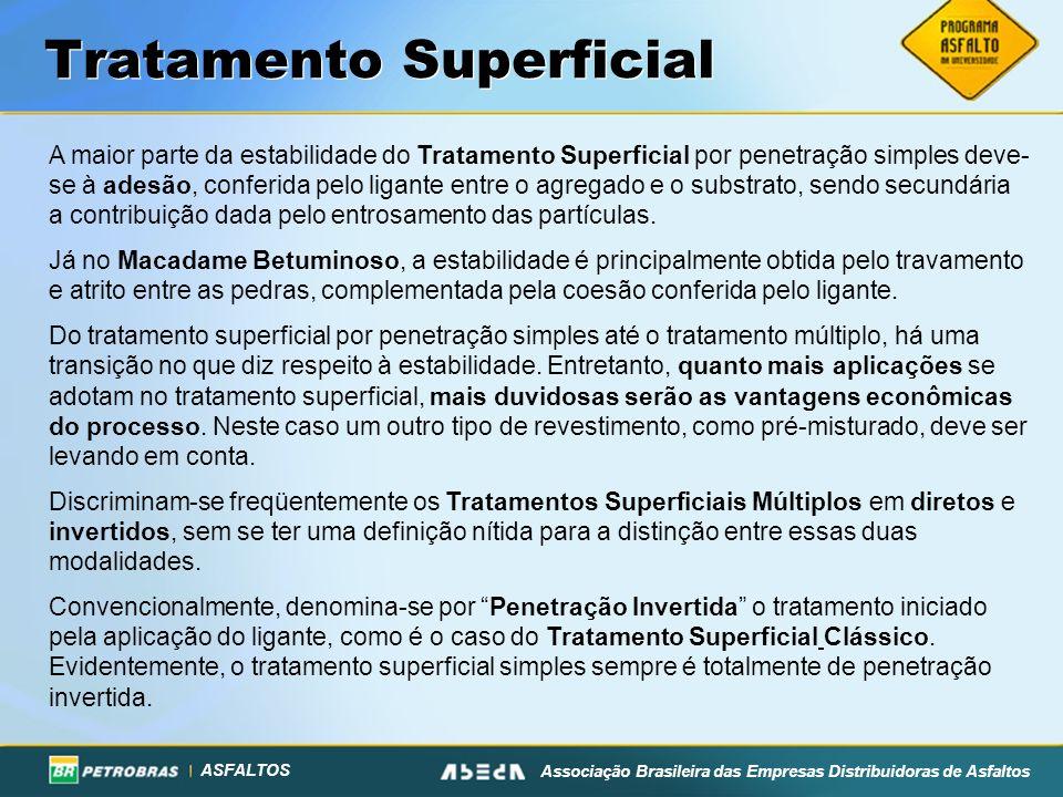 ASFALTOS Associação Brasileira das Empresas Distribuidoras de Asfaltos Tratamento Superficial A maior parte da estabilidade do Tratamento Superficial
