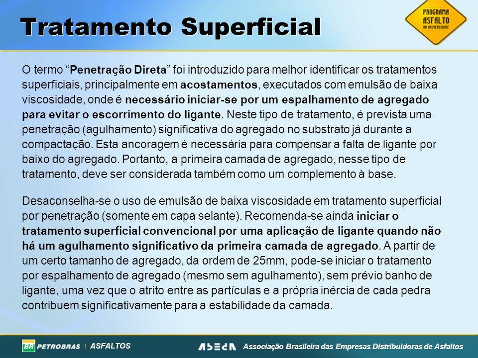 ASFALTOS Associação Brasileira das Empresas Distribuidoras de Asfaltos Tratamento Superficial O termo Penetração Direta foi introduzido para melhor id