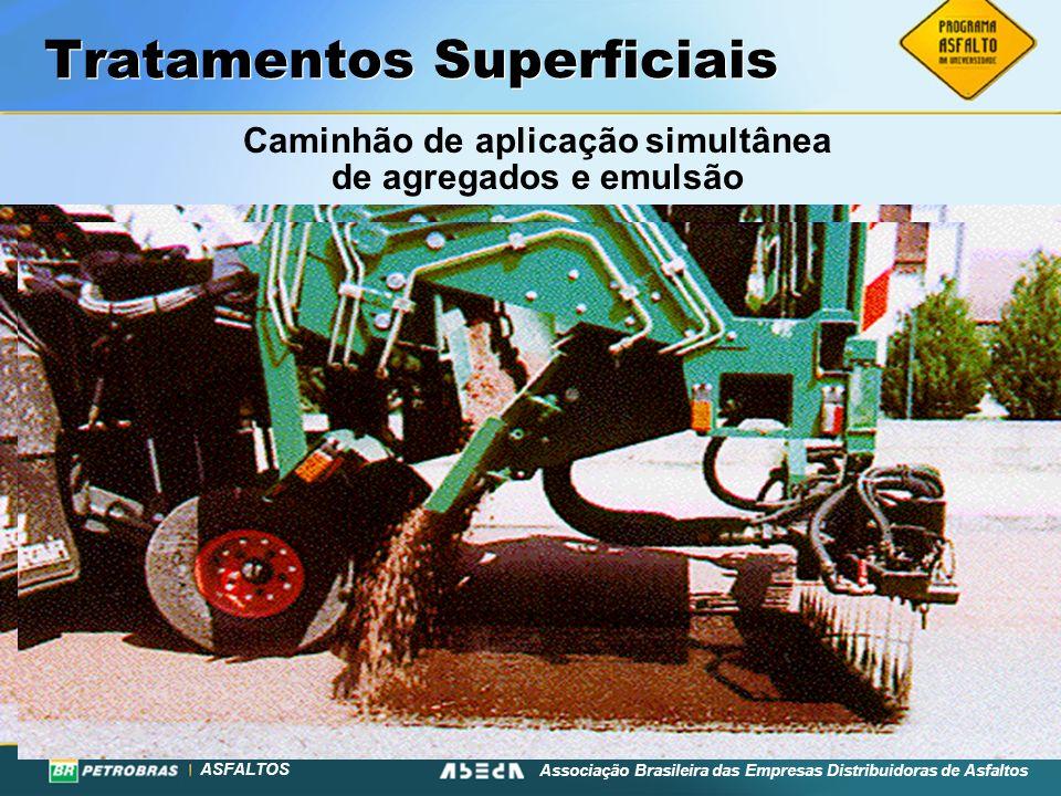 ASFALTOS Associação Brasileira das Empresas Distribuidoras de Asfaltos Tratamentos Superficiais Caminhão de aplicação simultânea de agregados e emulsã