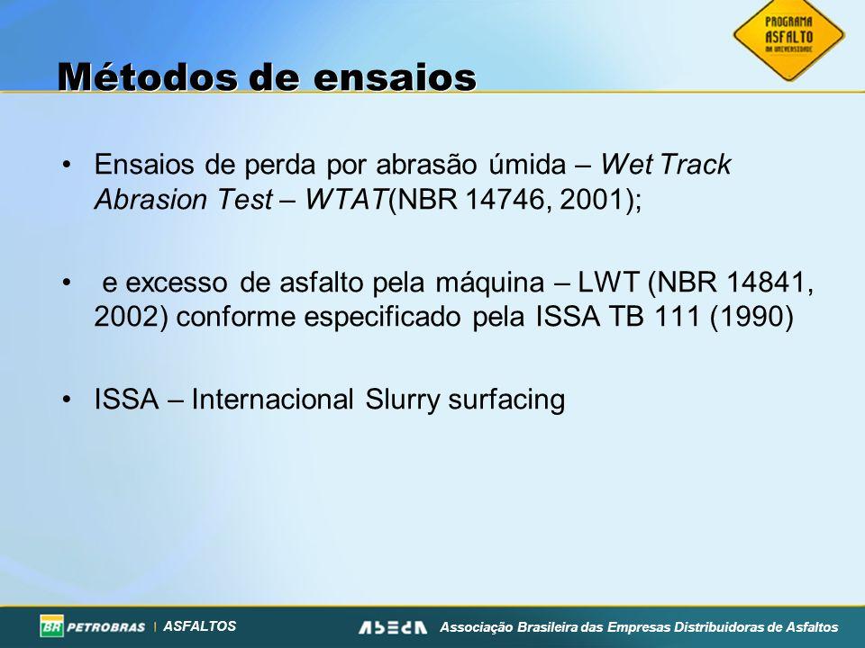 ASFALTOS Associação Brasileira das Empresas Distribuidoras de Asfaltos Métodos de ensaios Ensaios de perda por abrasão úmida – Wet Track Abrasion Test