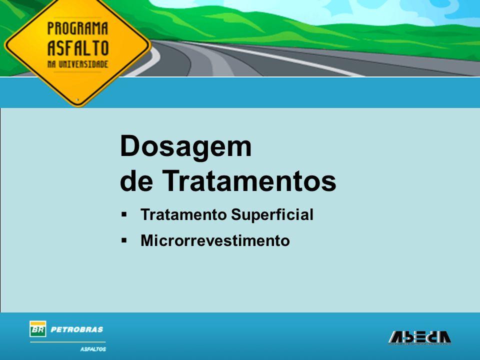 ASFALTOS Associação Brasileira das Empresas Distribuidoras de Asfaltos Dosagem de Tratamentos Tratamento Superficial Microrrevestimento