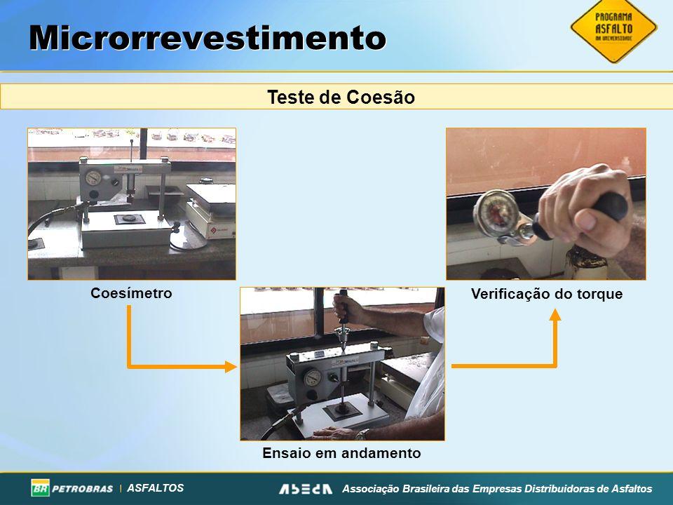 ASFALTOS Associação Brasileira das Empresas Distribuidoras de Asfaltos Microrrevestimento Teste de Coesão Coesímetro Ensaio em andamentoVerificação do