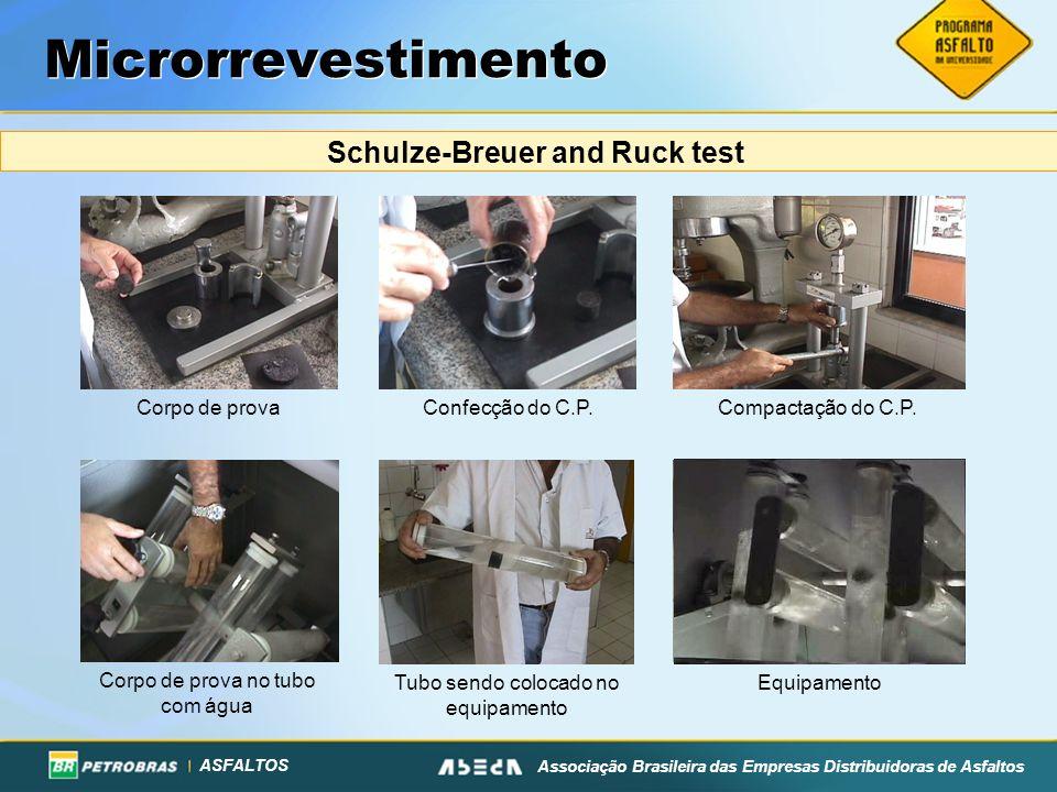 ASFALTOS Associação Brasileira das Empresas Distribuidoras de Asfaltos Microrrevestimento Schulze-Breuer and Ruck test Corpo de prova Corpo de prova n