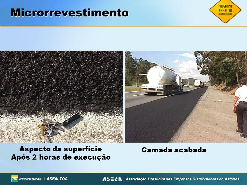 ASFALTOS Associação Brasileira das Empresas Distribuidoras de Asfaltos Microrrevestimento Aspecto da superfície Após 2 horas de execução Camada acabad