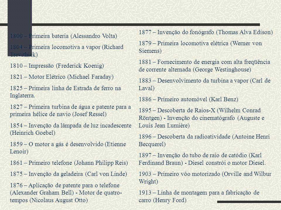 1800 – Primeira bateria (Alessandro Volta) 1804 – Primeira locomotiva a vapor (Richard Trevithick) 1810 – Impressão (Frederick Koenig) 1821 – Motor El