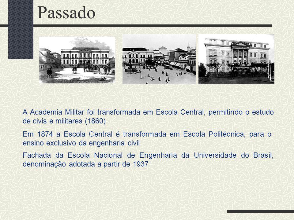 Passado A Academia Militar foi transformada em Escola Central, permitindo o estudo de civis e militares (1860) Em 1874 a Escola Central é transformada
