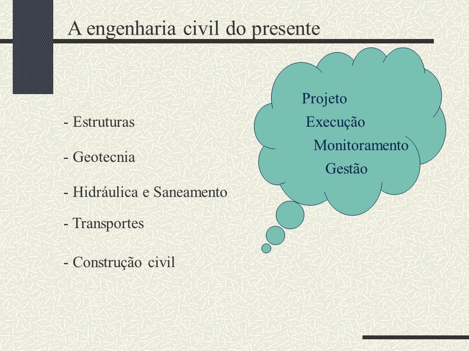 - Estruturas - Geotecnia - Hidráulica e Saneamento - Transportes - Construção civil Projeto Execução Monitoramento Gestão