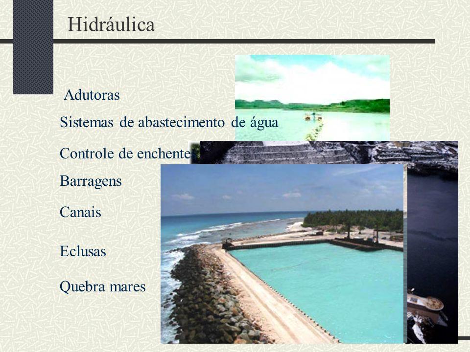 Hidráulica Adutoras Sistemas de abastecimento de água Controle de enchentes Barragens Canais Eclusas Quebra mares