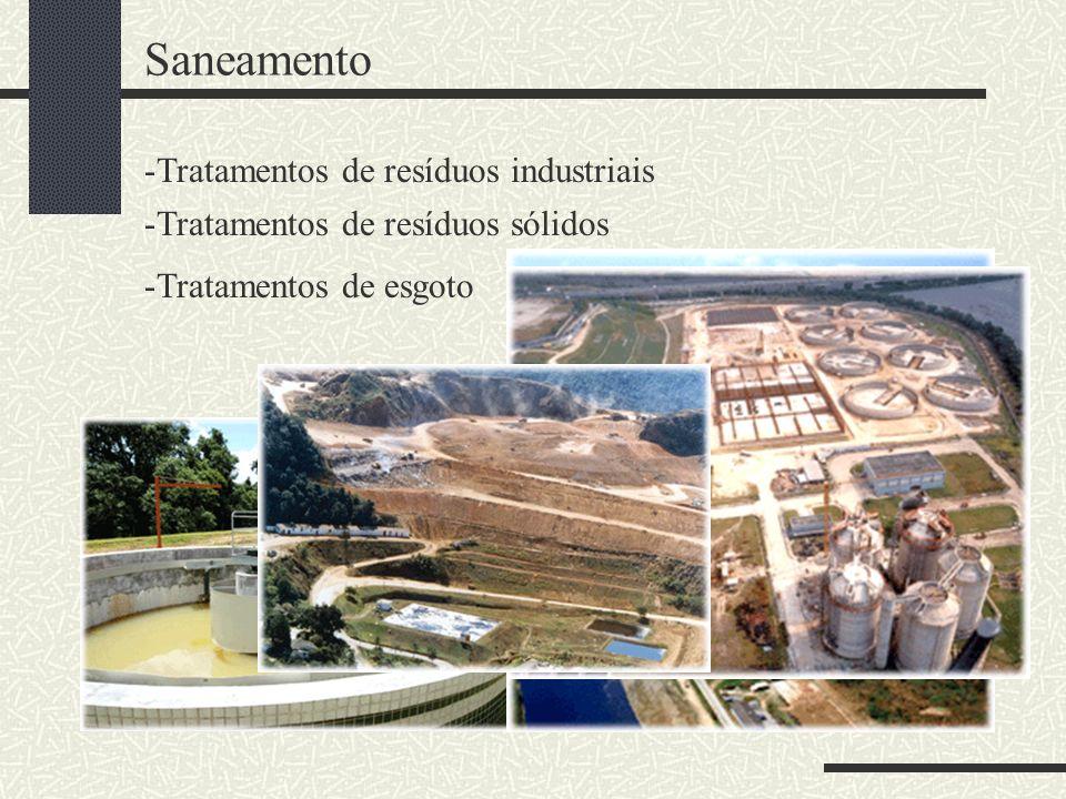 Saneamento -Tratamentos de resíduos industriais -Tratamentos de resíduos sólidos -Tratamentos de esgoto