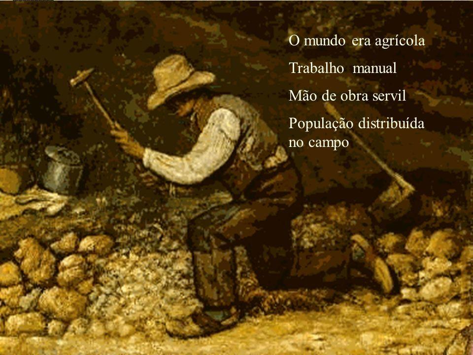 O mundo era agrícola Trabalho manual Mão de obra servil População distribuída no campo